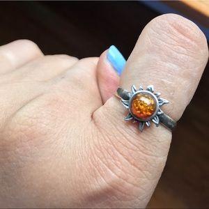 Dainty Amber Sun Ring
